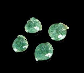 Green Jadeite Peach Pendants (4 Pc.)