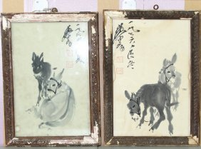 Two Chinese Paintings Of Donkeys