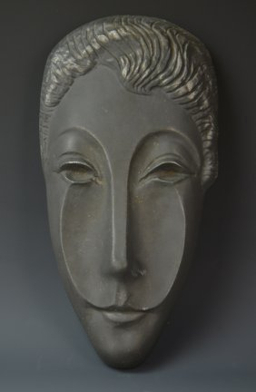 Mid Century Metal Face Sculpture