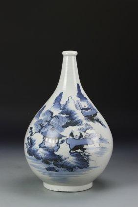 Korean Blue And White Vase