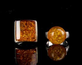 Two Vintage Amber And Silver Rings