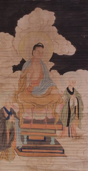 Chinese Scroll Painting Of Buddhas