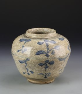 Chinese Blue And White Crackle Jar