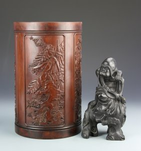 Chinese Wood Brush Pot And Figure