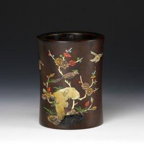 Chinese Zitan Brush Pot With Inlays