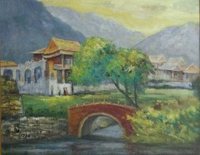 Chinese Oil On Canvas Of Water Landscape