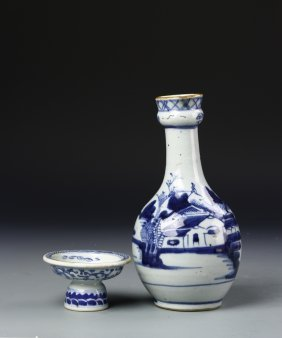 Chinese Export Blue And White Vase And Bowl