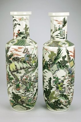 Pair Of Large Antique Chinese Famille Verte Vases