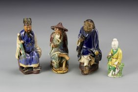 Four Chinese Clay Figures