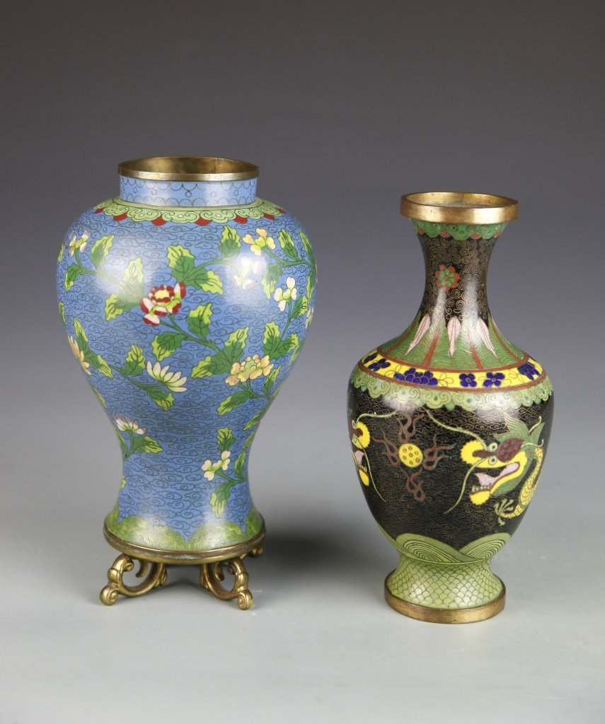 Chinese Pair of Cloisonne Vases