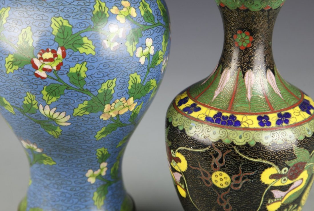 Chinese Pair of Cloisonne Vases - 5