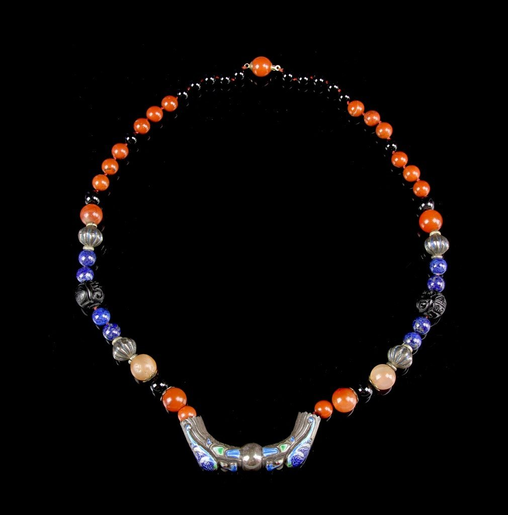 Chinese Agate Cloisonne Necklace