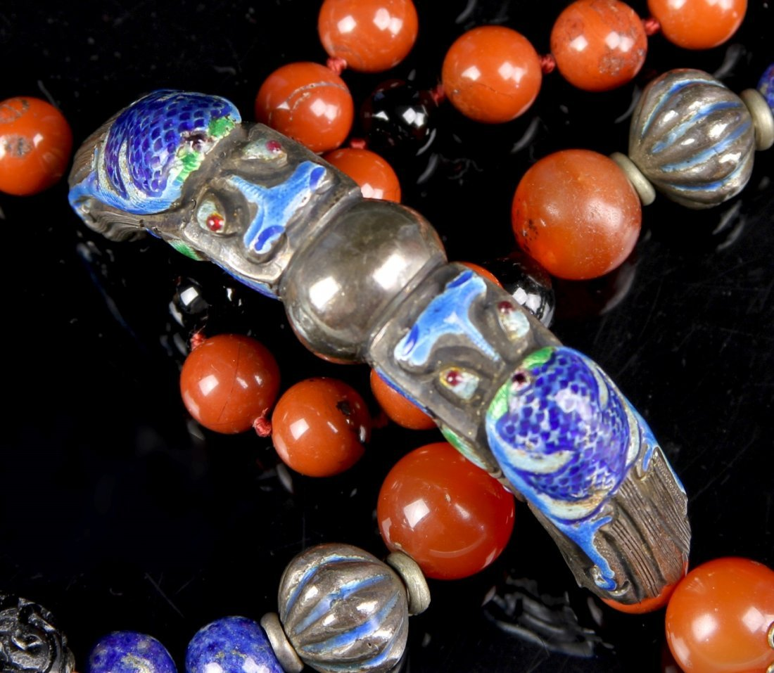 Chinese Agate Cloisonne Necklace - 3