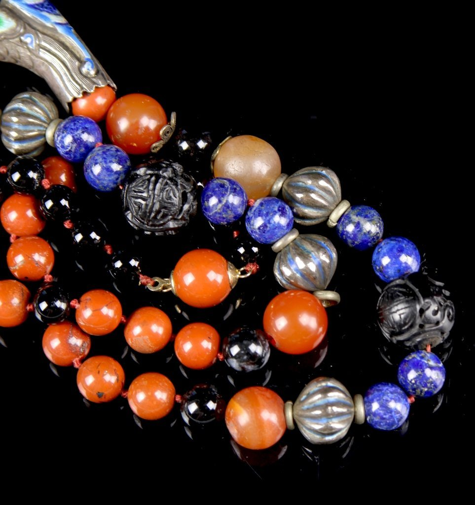 Chinese Agate Cloisonne Necklace - 4