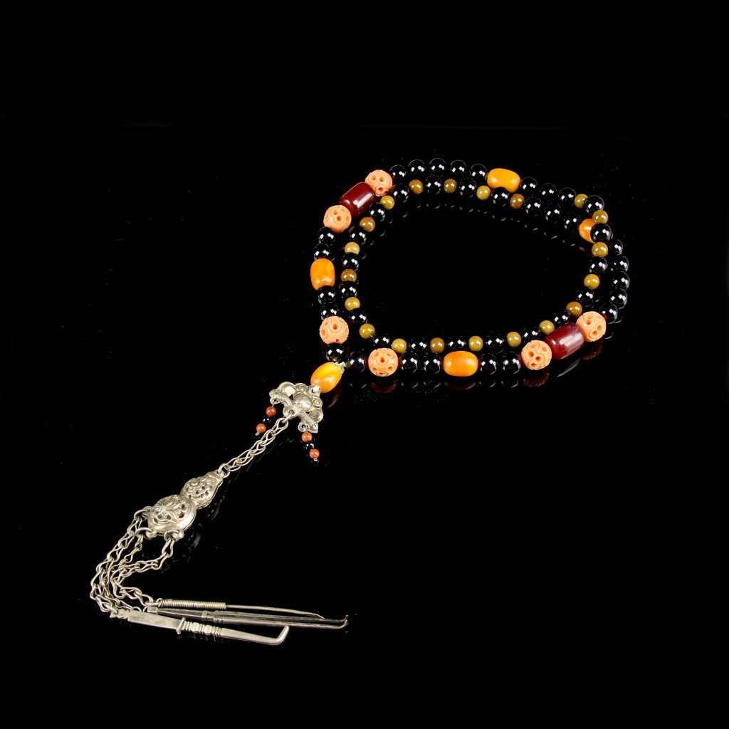 Chinese Silver Coral and Agate Necklace