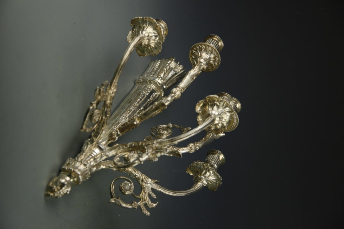 Pair Of Bronze Sconces, Silver Color - 3