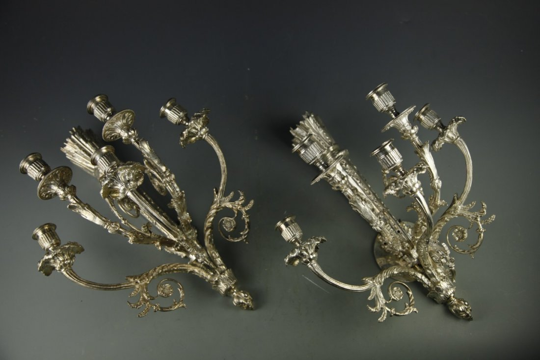Pair Of Bronze Sconces, Silver Color - 7
