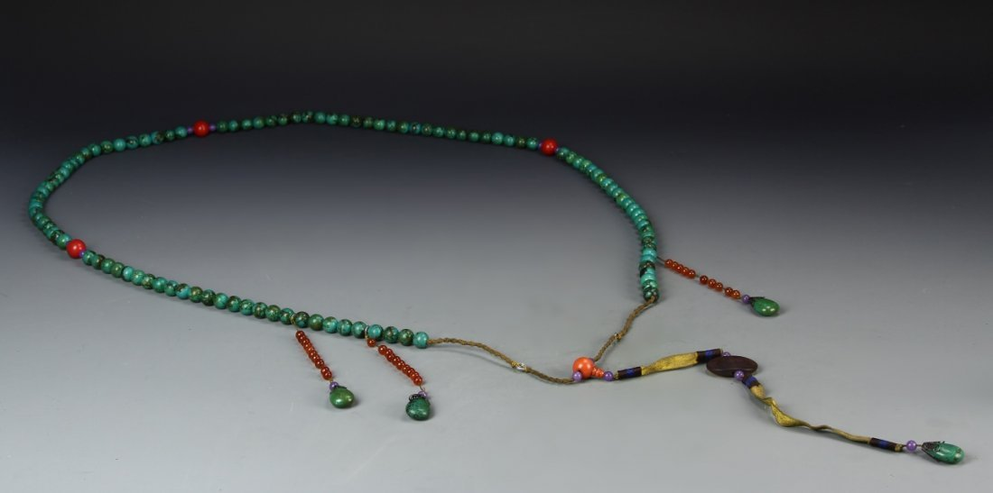 Chinese Turquoise Beaded Court Necklace