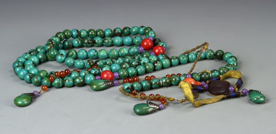 Chinese Turquoise Beaded Court Necklace - 2