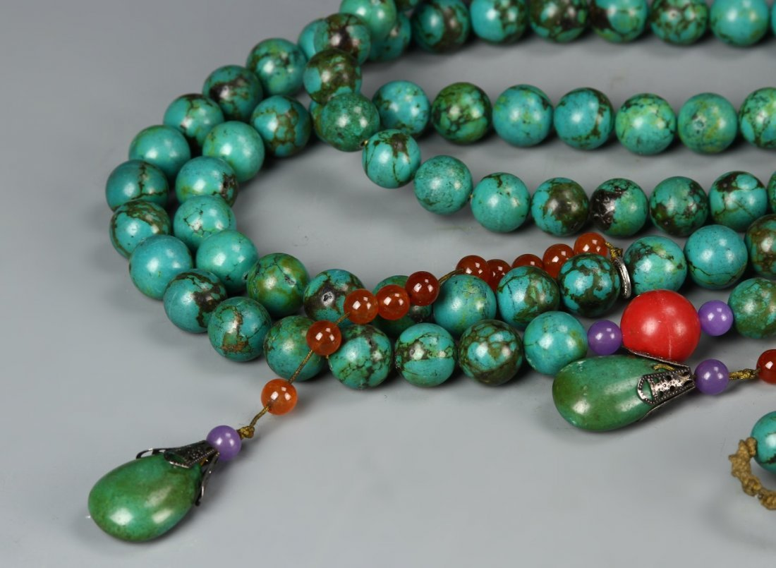 Chinese Turquoise Beaded Court Necklace - 3