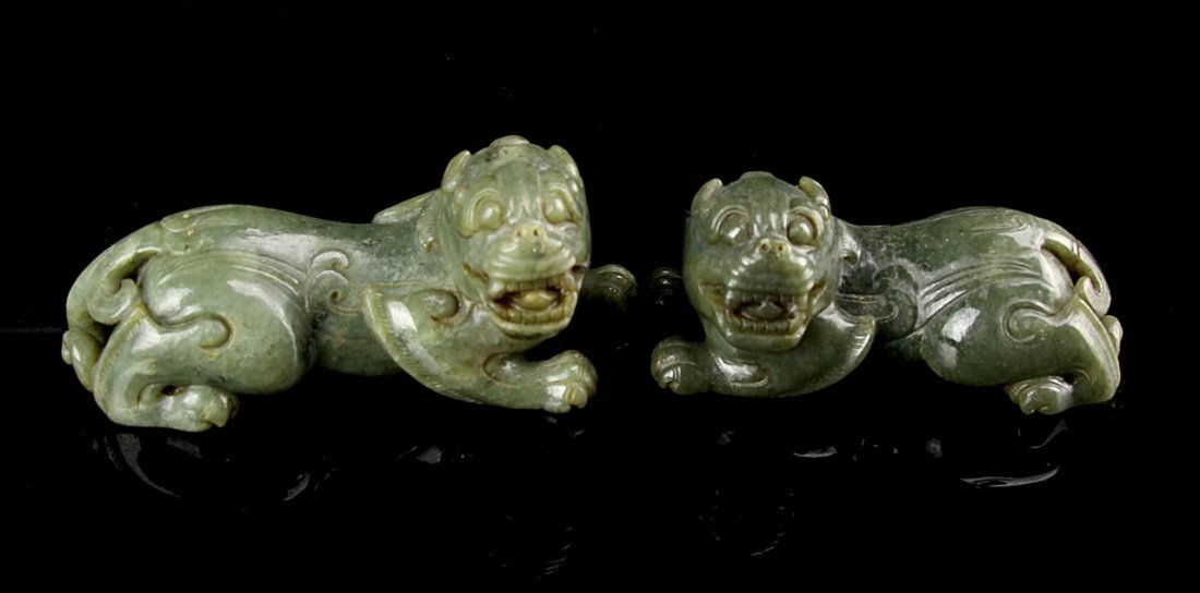Two Chinese Jade Foo Lions - 2