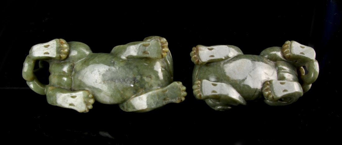 Two Chinese Jade Foo Lions - 5