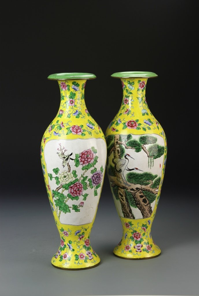 Pair of Chinese Enameled Vases