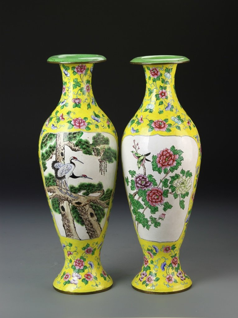 Pair of Chinese Enameled Vases - 2