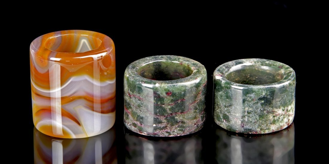 Three Chinese Agate Thumb Rings