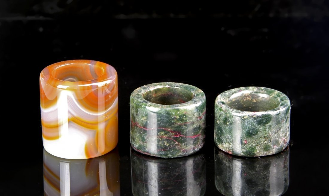 Three Chinese Agate Thumb Rings - 2