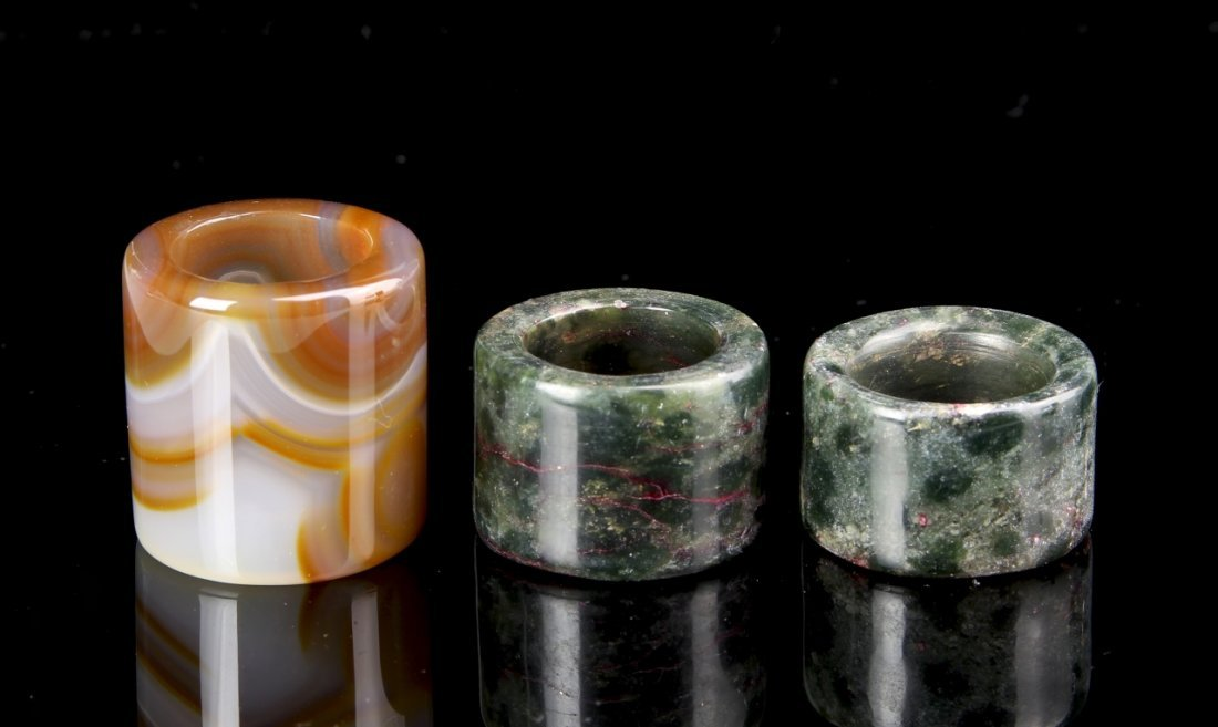 Three Chinese Agate Thumb Rings - 3