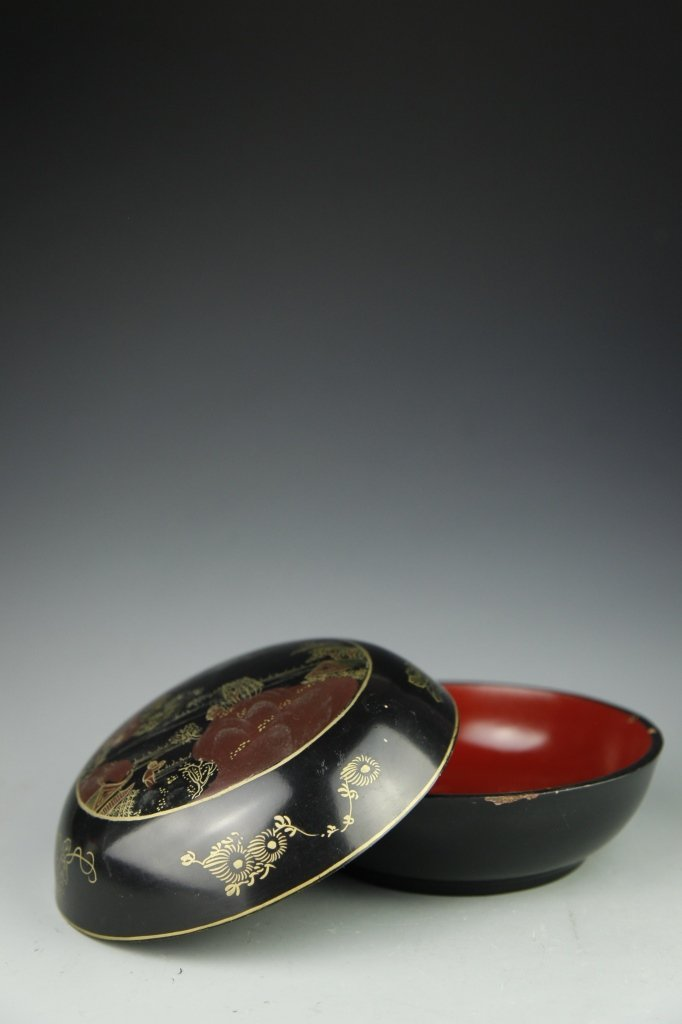 Japanese Lacquer Box with Cover - 6