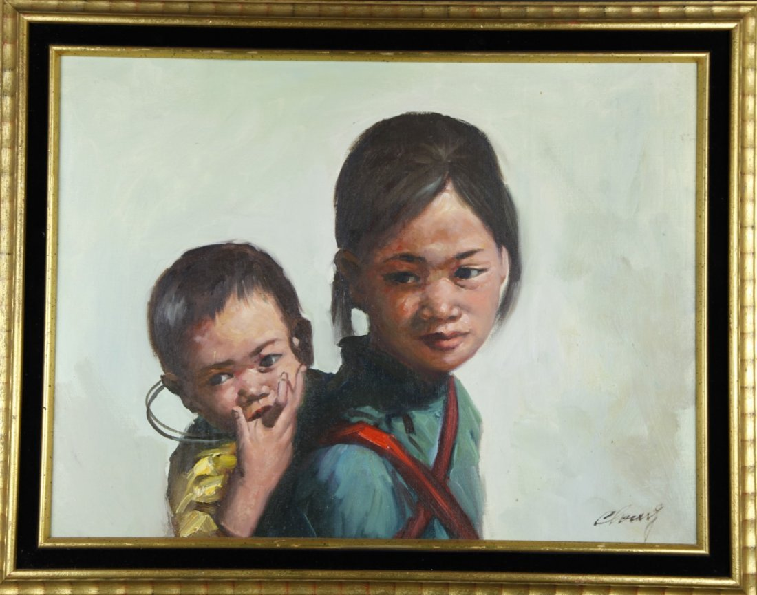 Oil Painting of Mother and Child