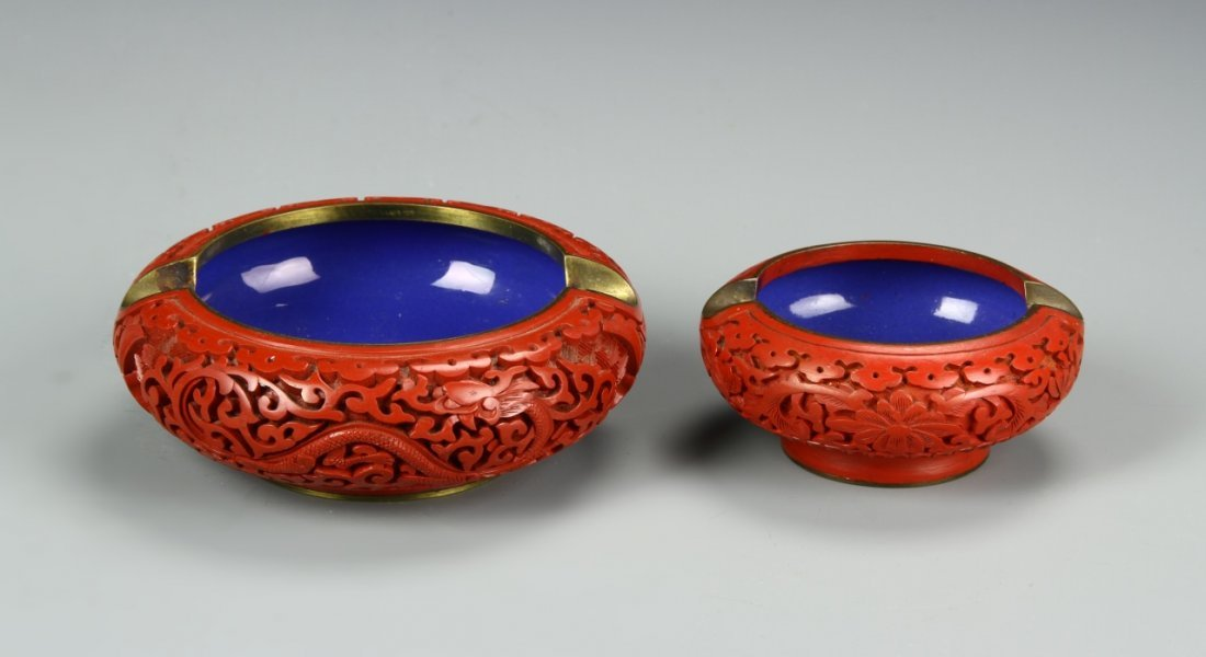 Two Chinese Cinnabar Astries