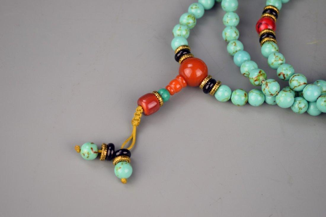 Chinese Tibetan Turquoise Prayer Beads - 2