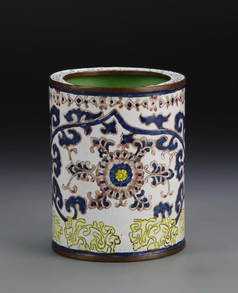 Chinese Enameled Bronze Brush Pot