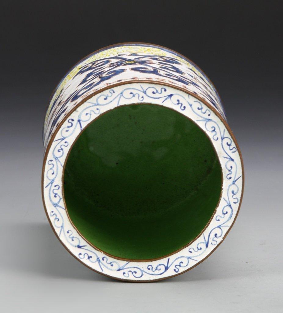 Chinese Enameled Bronze Brush Pot - 3