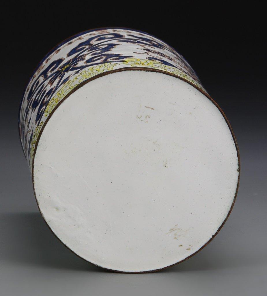 Chinese Enameled Bronze Brush Pot - 4
