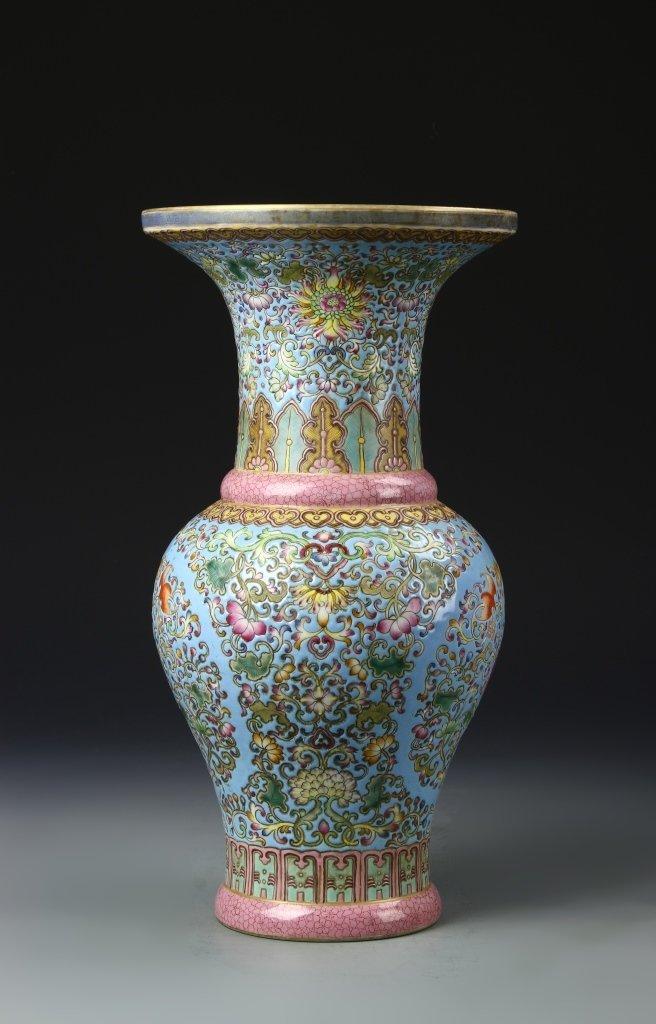 Chinese Famille Rose Gu Vase - 3