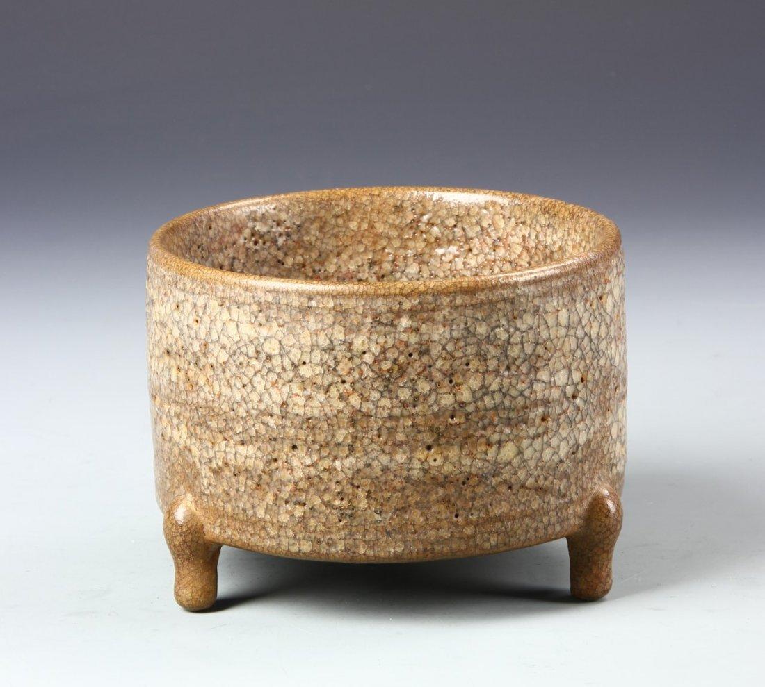 Chinese Tripod Brown Glazed Censer