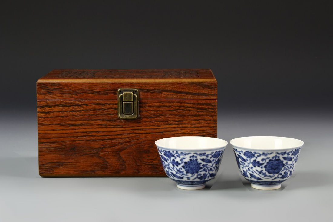 Pair of Chinese Blue and White Wine Cups