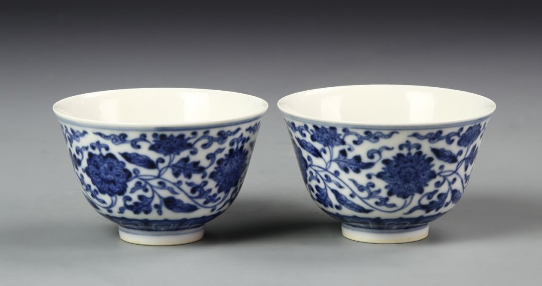Pair of Chinese Blue and White Wine Cups - 2
