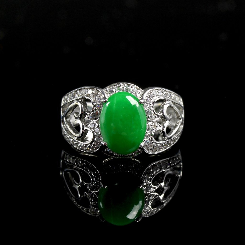 Chinese Silver Jadeite Ring