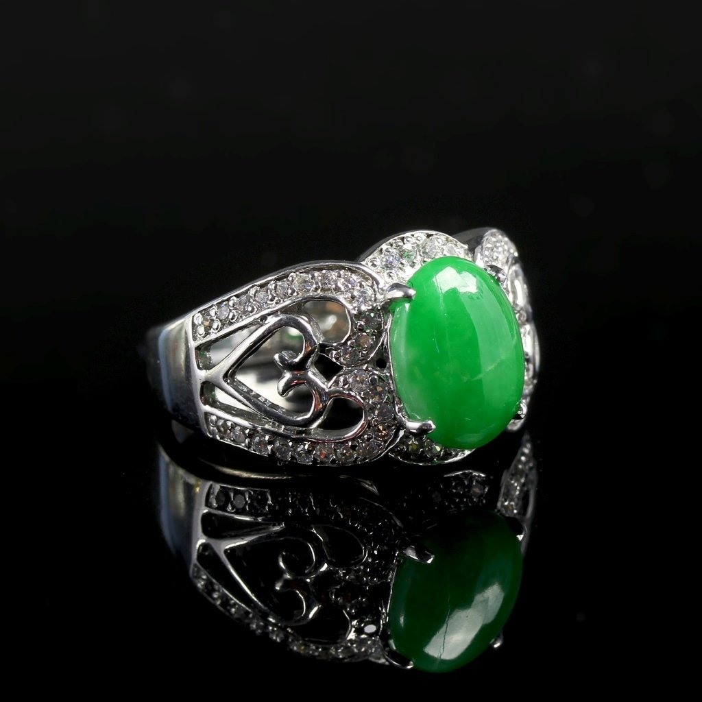 Chinese Silver Jadeite Ring - 3