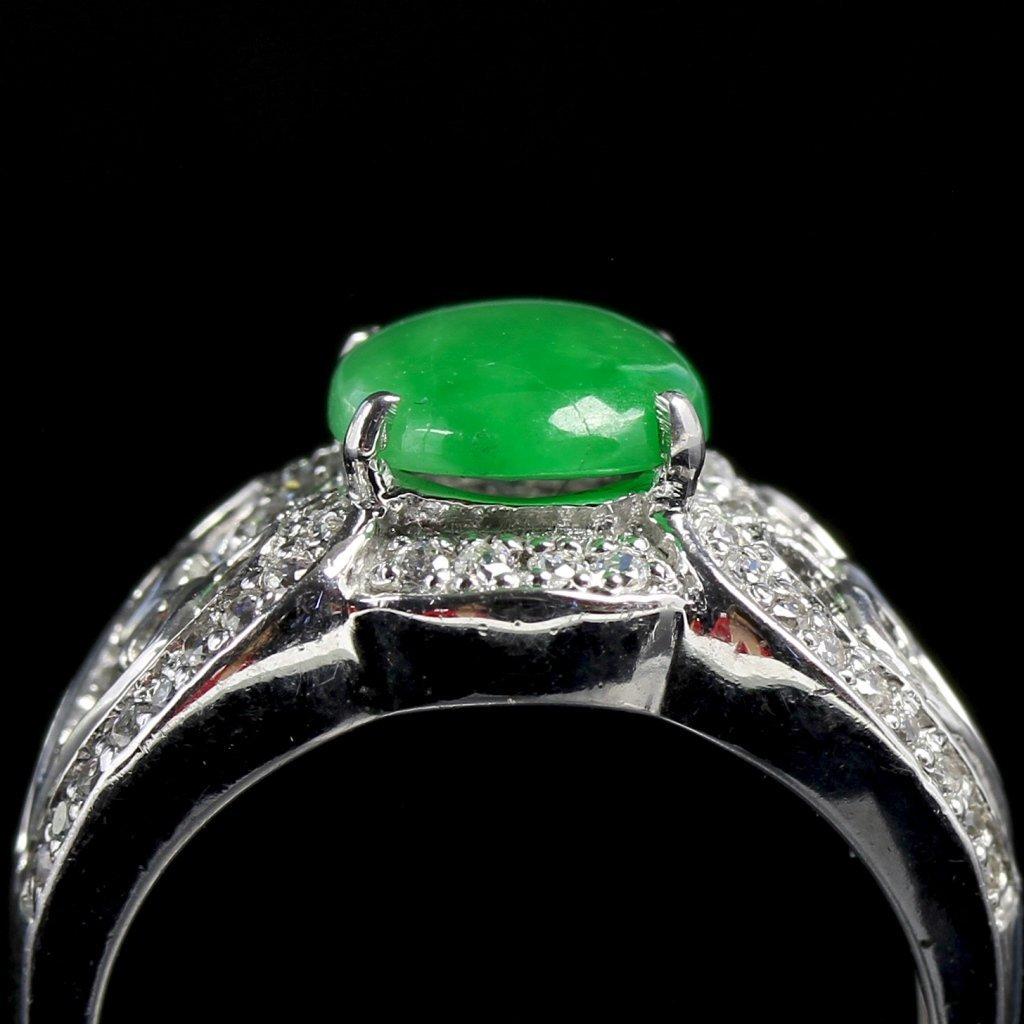 Chinese Silver Jadeite Ring - 4