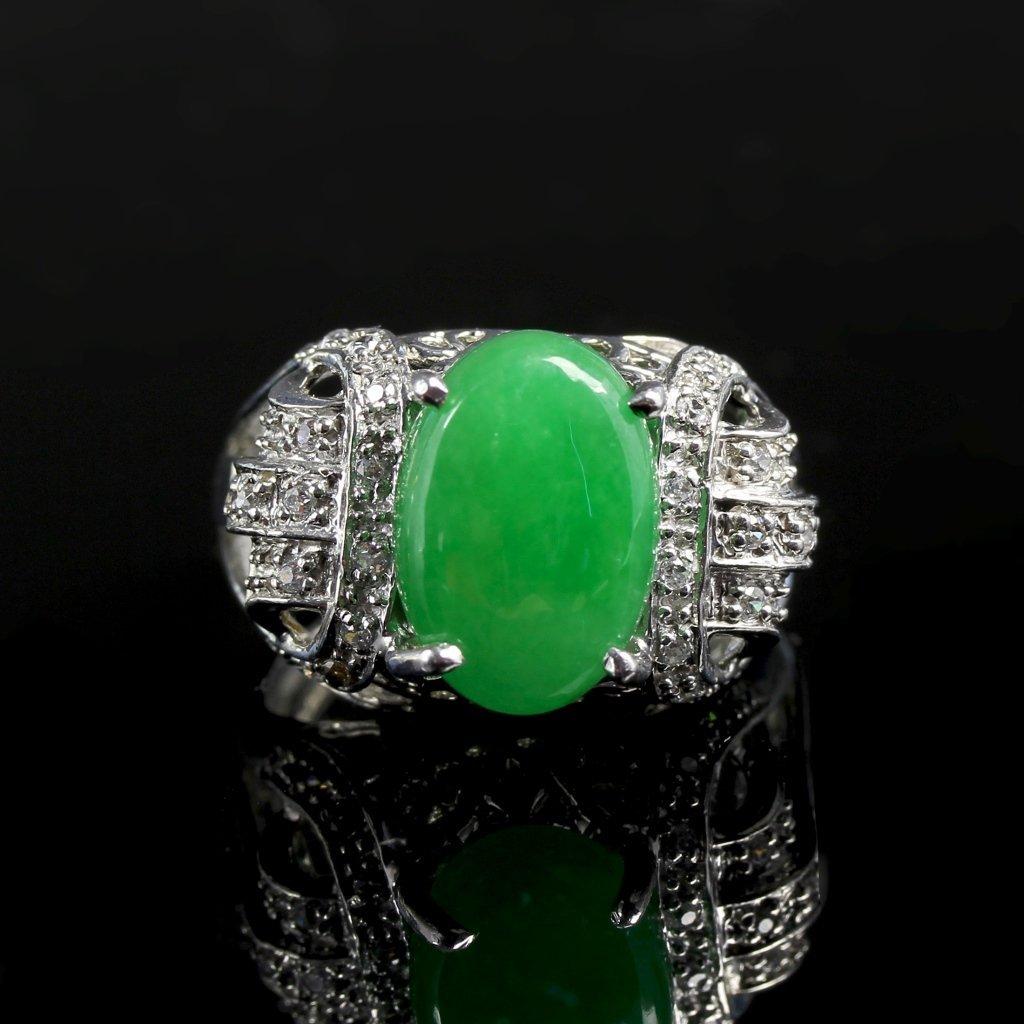 Chinese Jadeite Silver Jadeite Ring