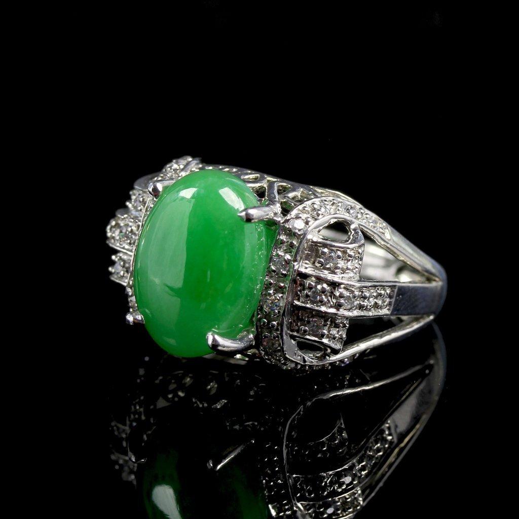 Chinese Jadeite Silver Jadeite Ring - 2