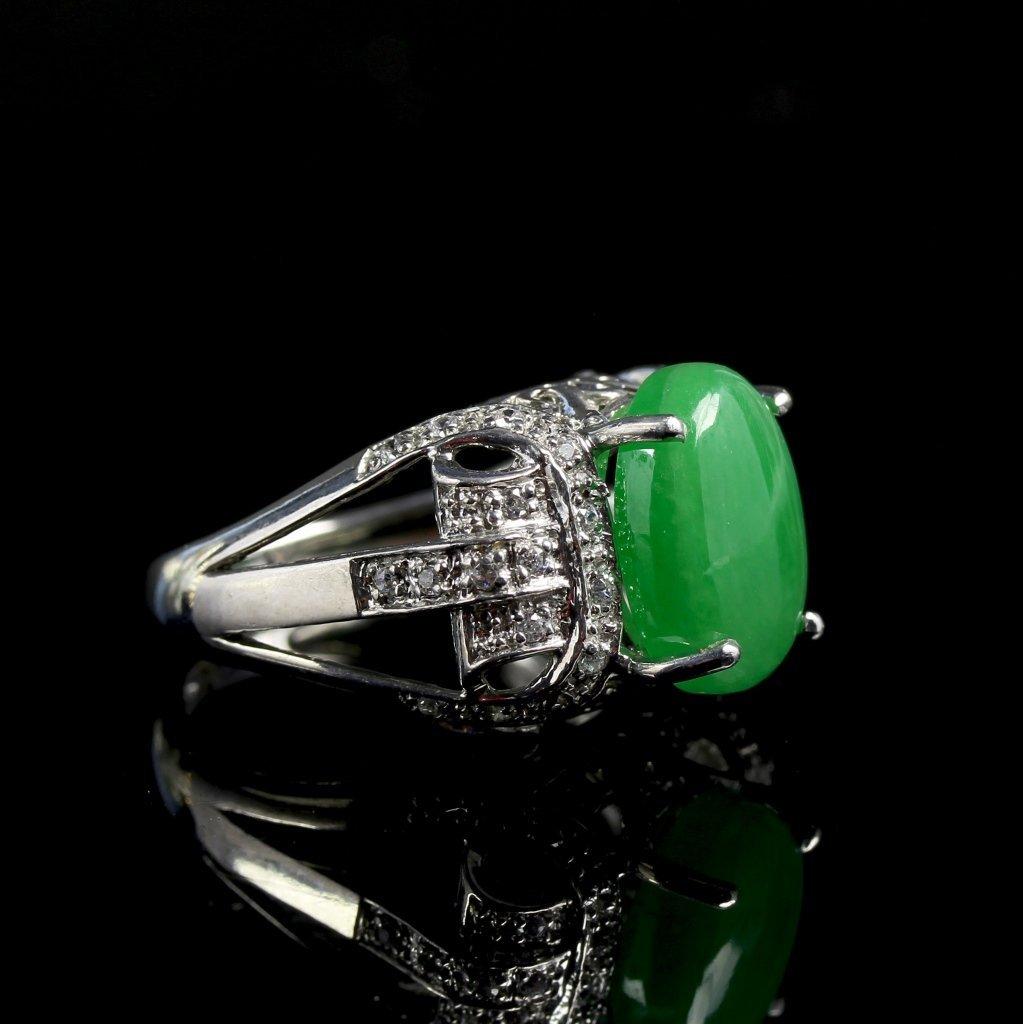 Chinese Jadeite Silver Jadeite Ring - 3