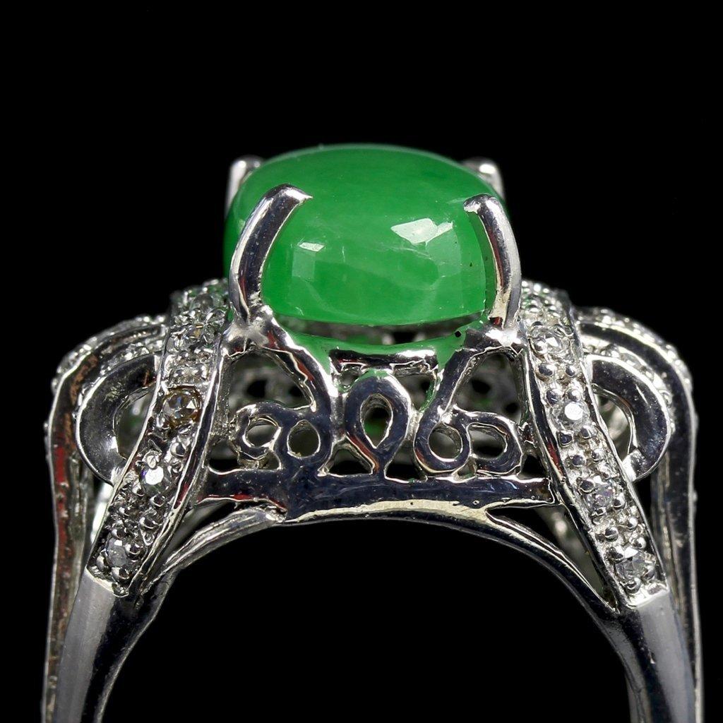 Chinese Jadeite Silver Jadeite Ring - 4