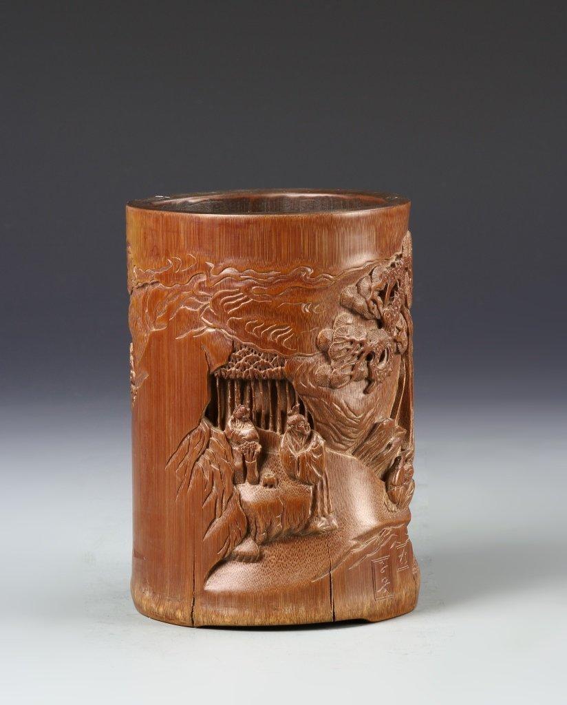Chinese Bamboo Brush Pot - 2